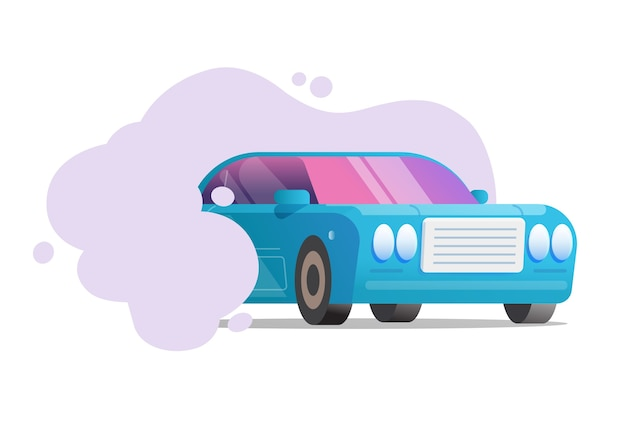 Carbon pollution and emission cloud from car vehicle concept