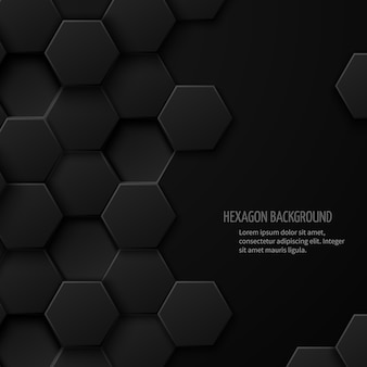 Абстрактный фон углеродной технологии с пространством для текста. геометрический дизайн шестиугольника