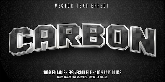 Carbon text editable text effect isolated on black