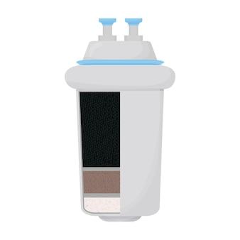 흰색 배경에 고립 된 탄소 물 필터 시스템 구조 상세한 디자인