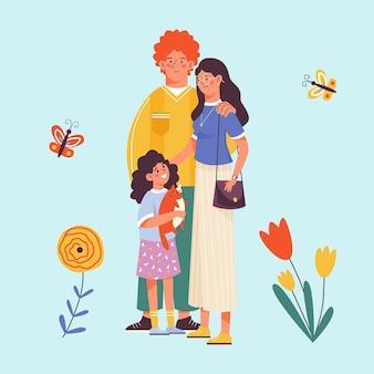 笑顔の家族のカップルと子供フラットとカードの背景