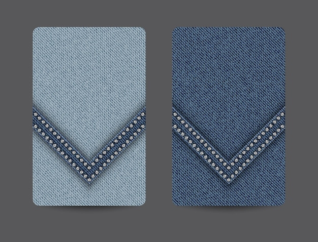 Card backgrounds with blue denim texture and wedge stripe with silver sequins.