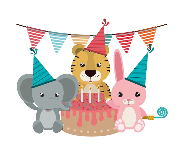 Card of birthday celebration with animals
