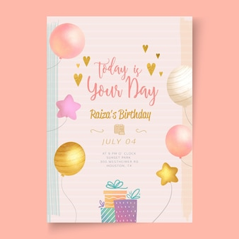 Card birthday party template