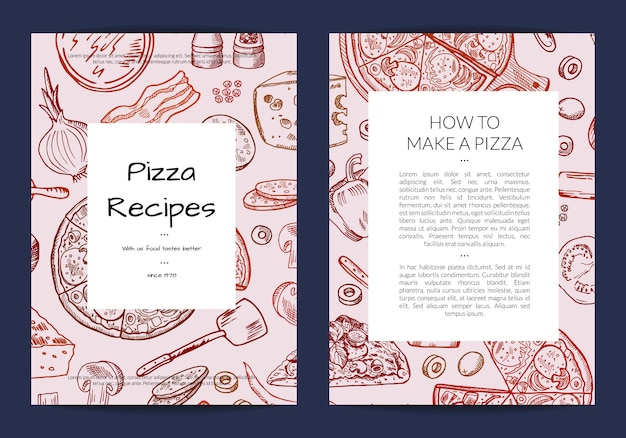 Card or brochure template for pizza restaurant or cooking lessons