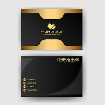 Card business template with gold concept modern geometric card black