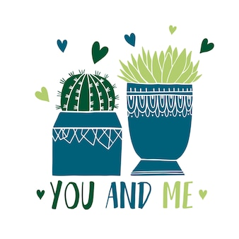 Card cactus pot and succulent in sketch