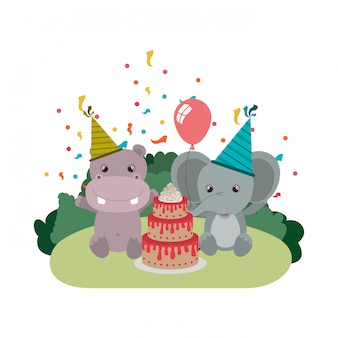 Card of celebration with animals