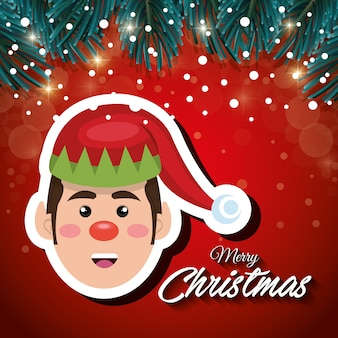 Card christmas elf red background snowfall