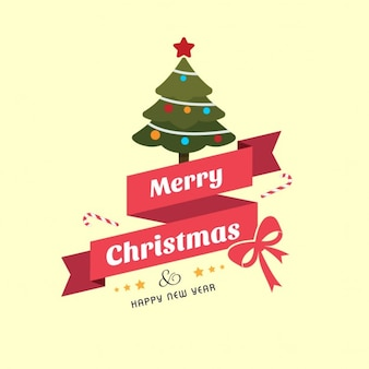 Card, christmas tree, ribbon