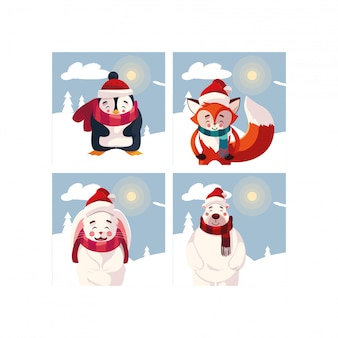 Card of christmas with animals in winter landscape