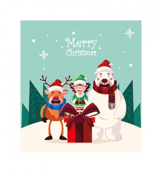 Card of christmas with merry christmas lettering