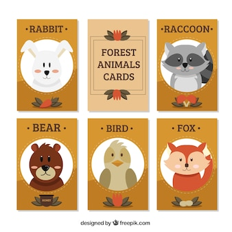 Card collection of cute forest animals in vintage style