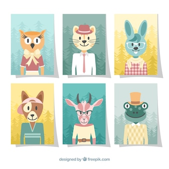 Card collection with animals wearing clothes