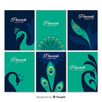 Card collection with peacock designs