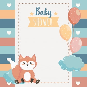 Card of cute fox animal with balloons and cloud
