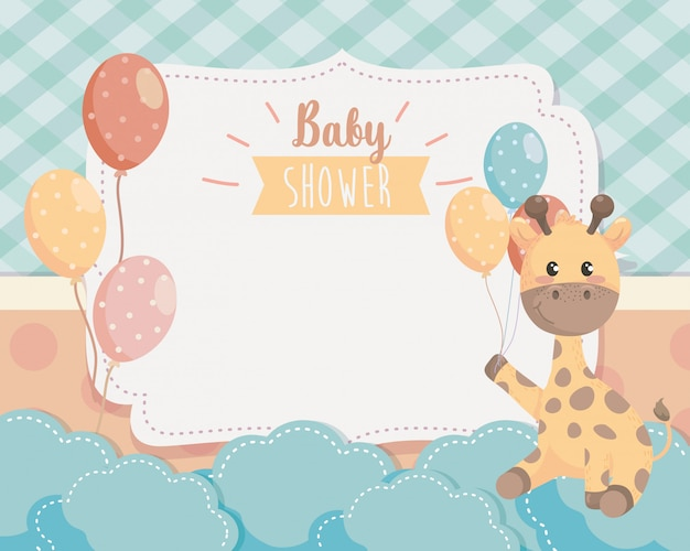 Card of cute giraffe with balloons and clouds