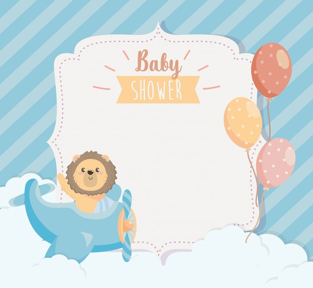 Card of cute lion in the cradle with balloons