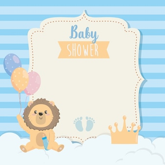 Card of cute lion with feeding bottle and balloons