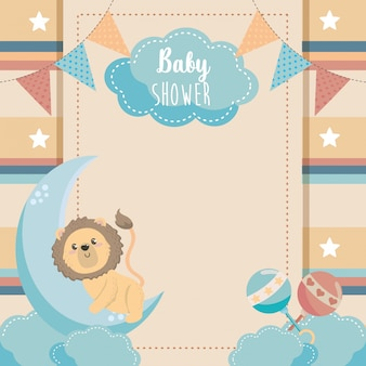 Card of cute lion with rattles and moon