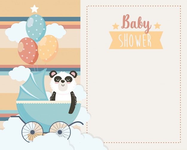 Card of cute panda in the carriage and balloons