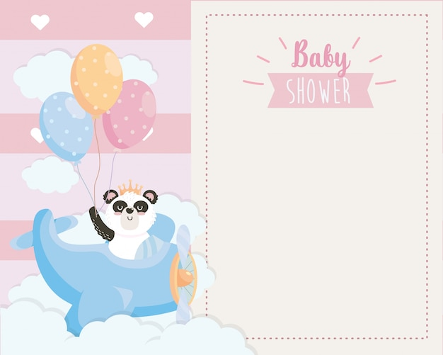 Card of cute panda in the cradle with balloons