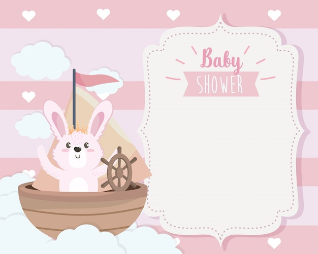 Card of cute rabbit in the ship and clouds