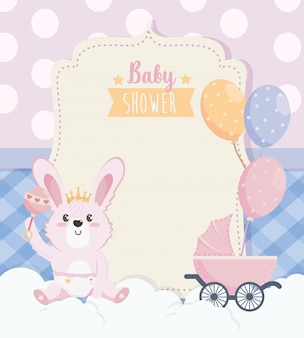 Card of cute rabbit with carriage and balloons