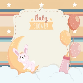 Card of cute rabbit with moon and feeding bottle