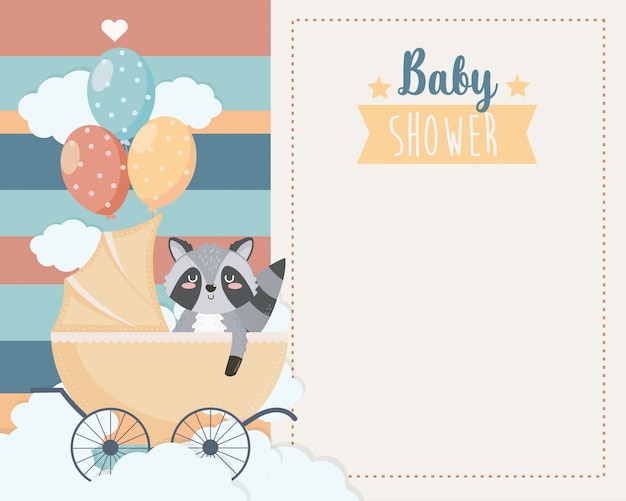 Card of cute raccoon in the carriage and balloons