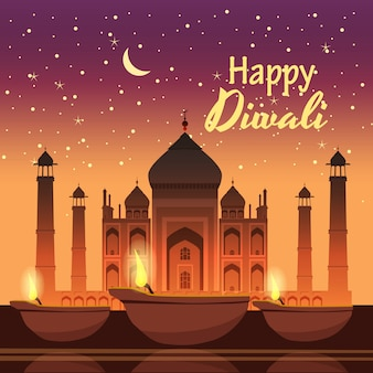 Card design for diwali festival with beautiful lamps.