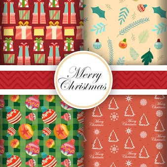 Card design seamless with merry christmas icons