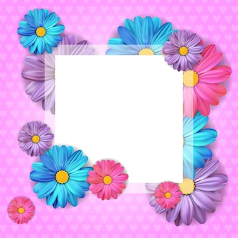 Card design with beautiful colorful flower