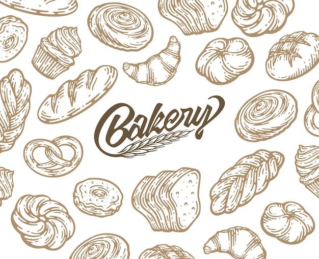 インク手描きのベーキングイラストとカードデザイン。パンとペストリーの落書きスケッチとビンテージテンプレート。