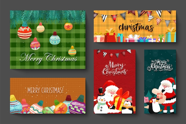 Card design with merry christmas icons