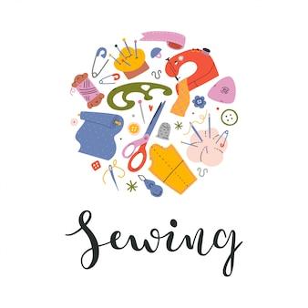裁縫用具とレタリングとカードデザイン