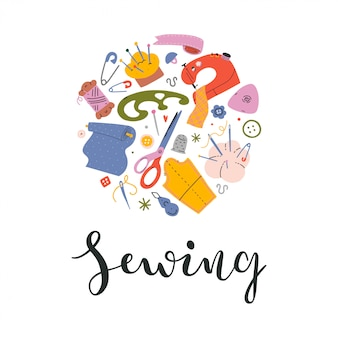 Card design with sewing tools and lettering