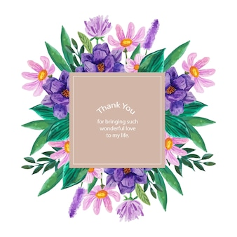 Card design with watercolor flower in lilac and purple