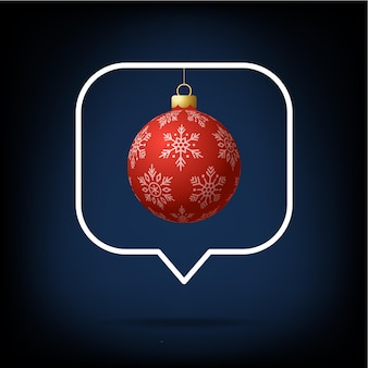 Card or flyer christmas realistic ball on like counter, comment follower and notification symbol vector illustration. merry christmas and happy new year notification