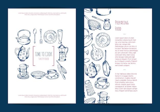 キッチン用品店や手描きの調理器具を使った料理教室のカード、チラシ、またはパンフレットの型板