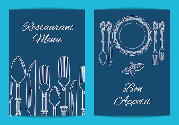 Card, flyer template for restaurant or cafe menu with exquisite hand drawn tableware illustration