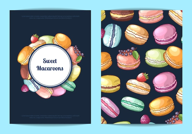 Card, flyer template for sweet or pastry shop with colored hand drawn macaroons illustration
