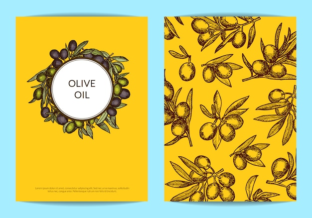 Card or flyer template with place for text for oil company with hand drawn olive branches