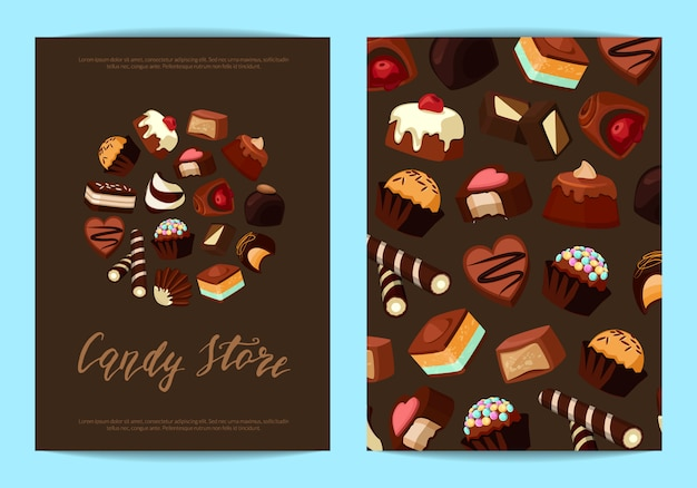 Card flyer templates set for with cartoon chocolate candies and place for text