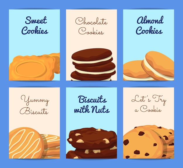 Card or flyer templates set with place for text and with cartoon cookies illustration
