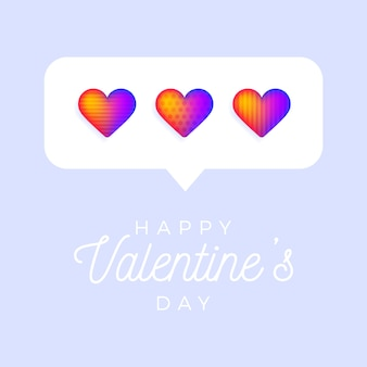 Card or flyer valentine rainbow heart like counter, comment follower and notification symbol background.