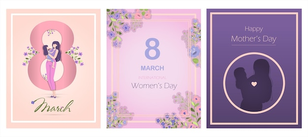 Открытка для международного дня матери векторные иллюстрации для марша с цветами и поздравлениями ba ...