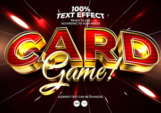 Card game editable text effect
