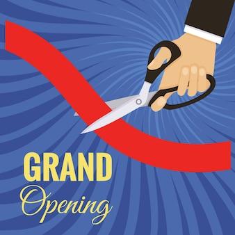 La cerimonia di inaugurazione della carta ha tagliato il nastro rosso con le forbici.