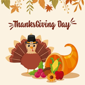 Card of happy thanksgiving and cartoon turkey